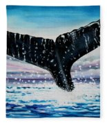 A Whale And A Violet Sunset Fleece Blanket