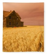 Abandoned Farm House, Wind-blown Durum Fleece Blanket