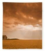 Abandoned Farm In Durum Wheat Field Fleece Blanket