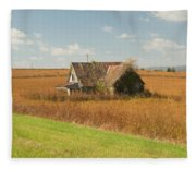 Abandoned Farmhouse In Field 2 Fleece Blanket