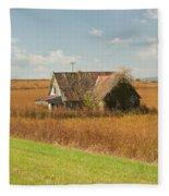Abandoned Farmhouse In Field 2 Fleece Blanket