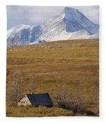 Abandoned Farmhouse Outside Of Waterton Fleece Blanket