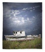 Abandoned Fishing Boat In Washington State Fleece Blanket