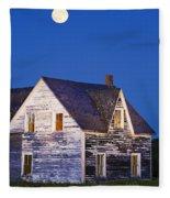 Abandoned House And Moon At Dusk Fleece Blanket