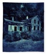 Abandoned House At Night Fleece Blanket
