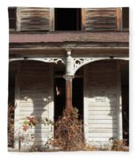 Abandoned House Facade Rusty Porch Roof Fleece Blanket