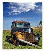 Abandoned Rusty Truck Fleece Blanket