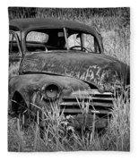 Abandoned Vintage Car Along The Roadside Fleece Blanket