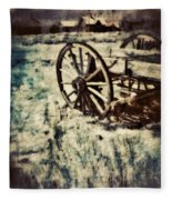 Abandoned Wagon By Old Ghost Town. Fleece Blanket