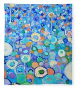 Abstract Flowers Field Fleece Blanket
