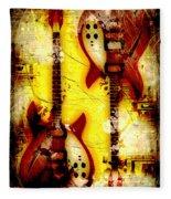 Abstract Grunge Guitars Fleece Blanket