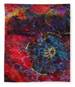 Abstract Red Poppy Fleece Blanket