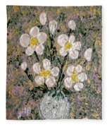 Abstract Wild Roses Heavy Impasto Fleece Blanket