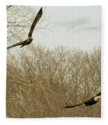 Adult And Immature Bald Eagle Flying Fleece Blanket
