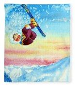 Aerial Skier 13 Fleece Blanket