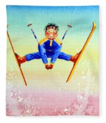 Aerial Skier 17 Fleece Blanket