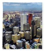 Aerial View From Cn Tower Toronto Ontario Canada Fleece Blanket
