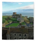 Aerial View Of Dover Castle Fleece Blanket