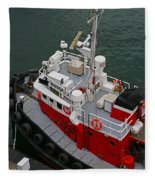 Aerial View Of Red Tug  Fleece Blanket
