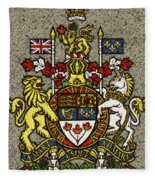 Aged And Cracked Canada Coat Of Arms Fleece Blanket