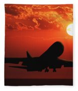 Airplane Landing At Sunset Fleece Blanket