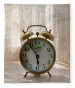 Alarm Clock On Windowsill Fleece Blanket
