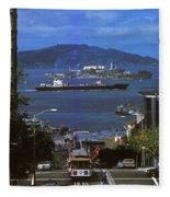 Alcatraz From San Fran Hilltop Fleece Blanket