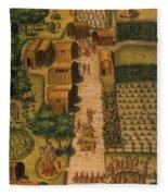 Algonquian Village 1585 Fleece Blanket