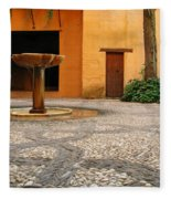 Alhambra Courtyard And Fountain In Spain Fleece Blanket