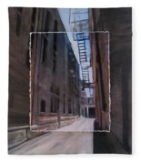 Alley With Fire Escape Layered Fleece Blanket