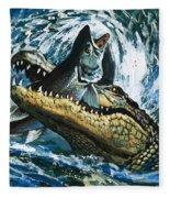 Alligator Eating Fish Fleece Blanket