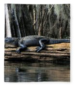 Alligator Sunning Fleece Blanket