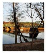 Alongside The Uhlerstown Frenchtown Bridge Fleece Blanket