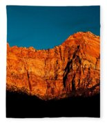 Alpenglow In Zion Canyon Fleece Blanket