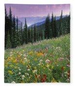 Alpine Wildflower Meadow, Mount Fleece Blanket
