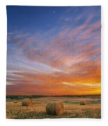 Amazing Sunset Over Pasture Fleece Blanket