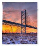 Ambassador Bridge Sunrise 1-16-2012  Detroit Mi Fleece Blanket