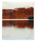Amber Autumn Lake Fleece Blanket