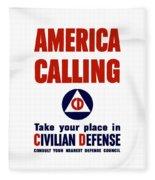 America Calling -- Civilian Defense Fleece Blanket