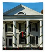 American Colonial Architecture Christmas  Fleece Blanket