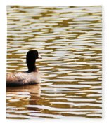 American Coot Floating By Fleece Blanket