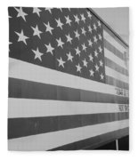 American Flag At Nathan's In Black And White Fleece Blanket