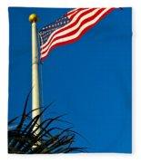 American Flag Flying Over The Palms Fleece Blanket