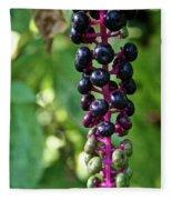 American Pokeweed Berries Fleece Blanket