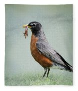 American Robin With Worms Fleece Blanket
