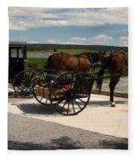 Amish Buggies Fleece Blanket