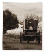 Amish Buggy And Wagon Fleece Blanket