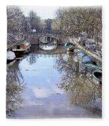 Amsterdam Canal Fleece Blanket