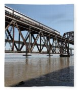 Amtrak Train Riding Atop The Benicia-martinez Train Bridge In California - 5d18829 Fleece Blanket