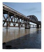 Amtrak Train Riding Atop The Benicia-martinez Train Bridge In California - 5d18830 Fleece Blanket